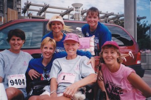 Nancy and friends at the 1999 Race for the Cure